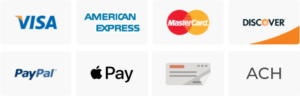 Accepted payment methods: Visa, Amex, Master Card, Discover, PayPal, Apple Pay, Check, ACH