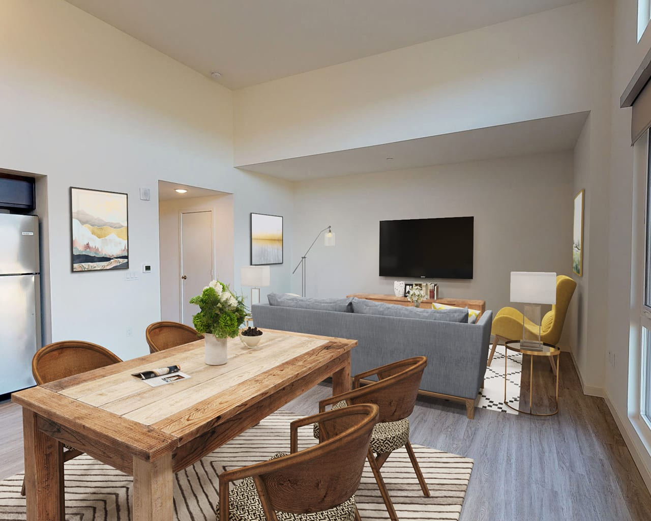 Virtual home staging living/dining combo after staging